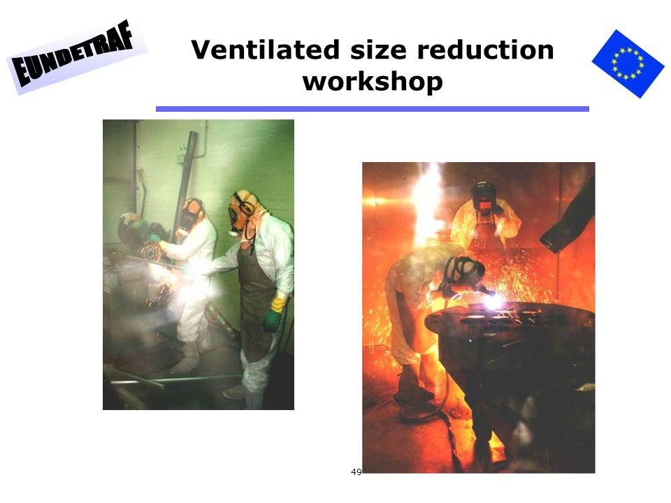 Ventilated size reduction workshop