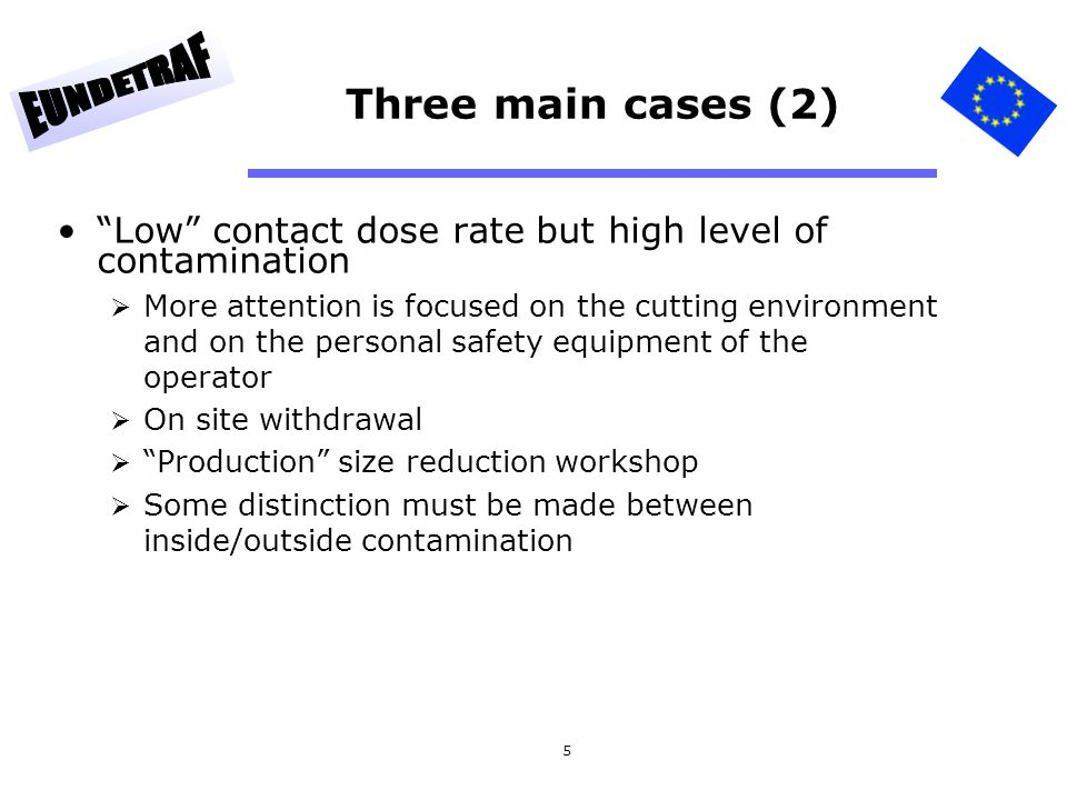 Three main cases (2) Low contact dose rate but high level of contamination.