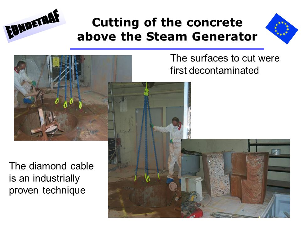 Cutting of the concrete above the Steam Generator