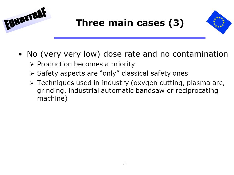 Three main cases (3) No (very very low) dose rate and no contamination