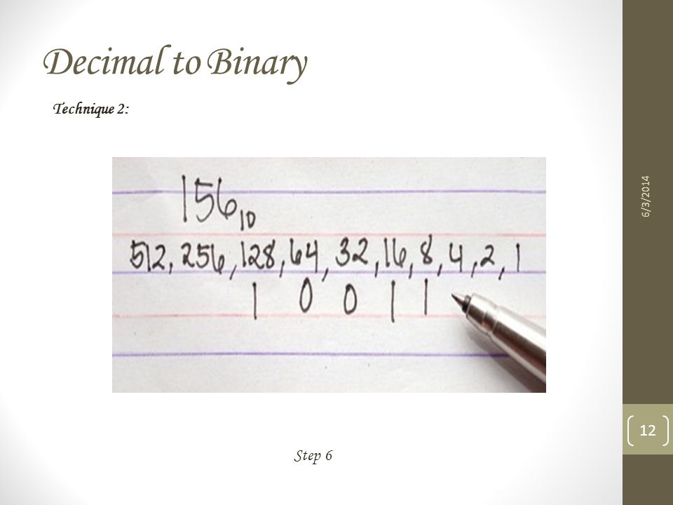 Decimal to Binary Technique 2: 3/31/2017 Step 6
