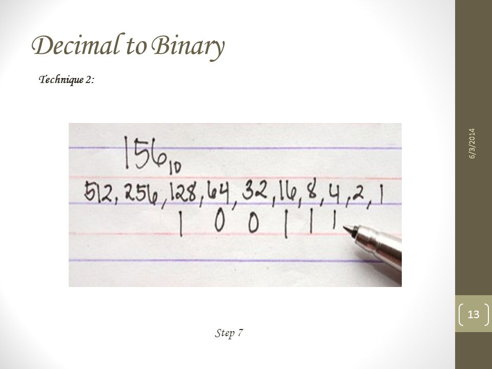 Decimal to Binary Technique 2: 3/31/2017 Step 7