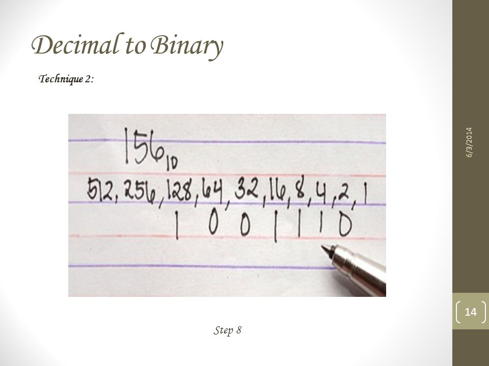 Decimal to Binary Technique 2: 3/31/2017 Step 8