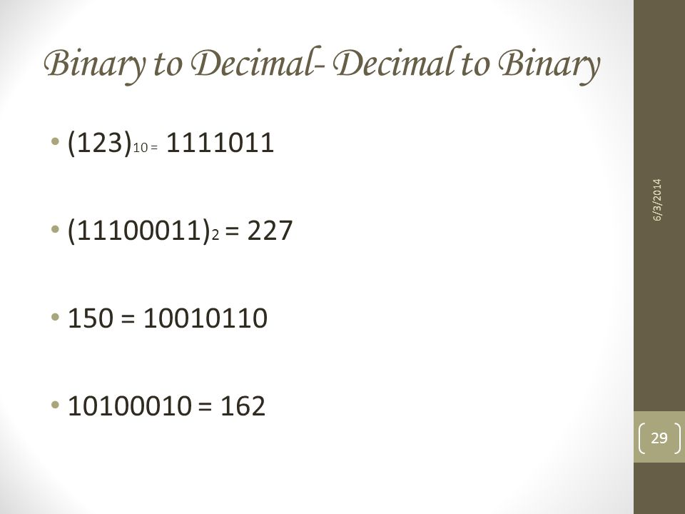 Binary to Decimal- Decimal to Binary