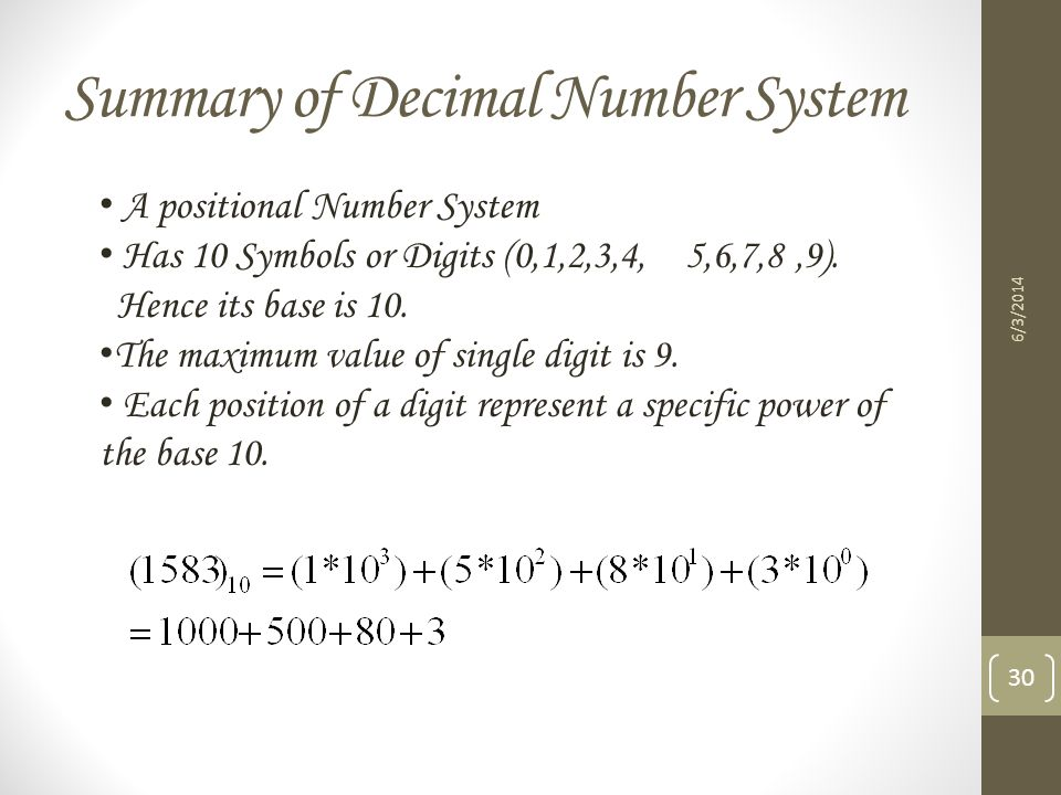 Summary of Decimal Number System