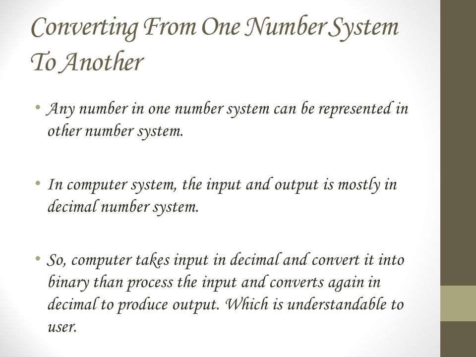Converting From One Number System To Another