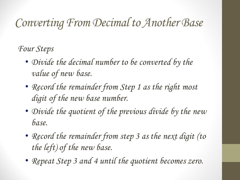 Converting From Decimal to Another Base