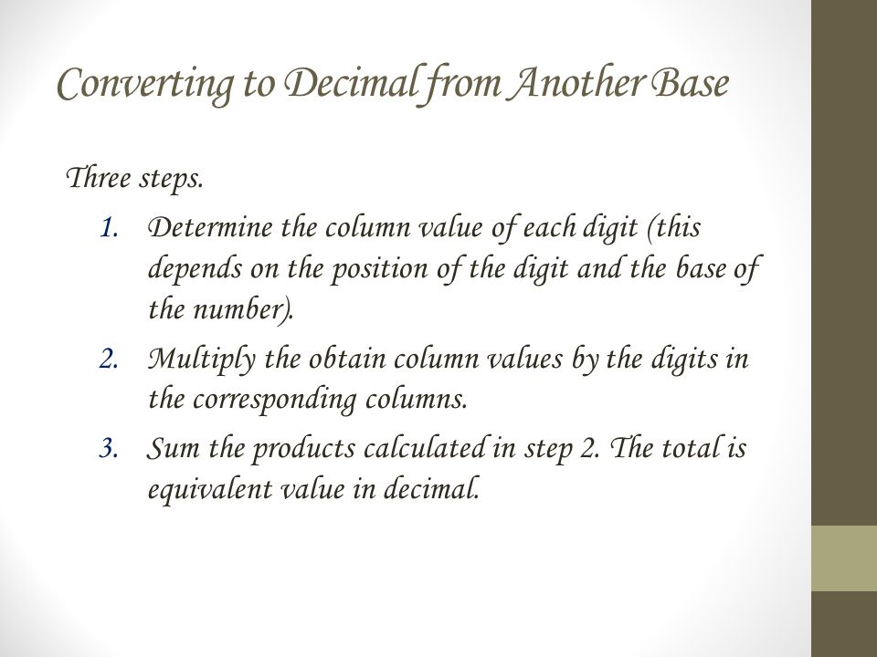 Converting to Decimal from Another Base