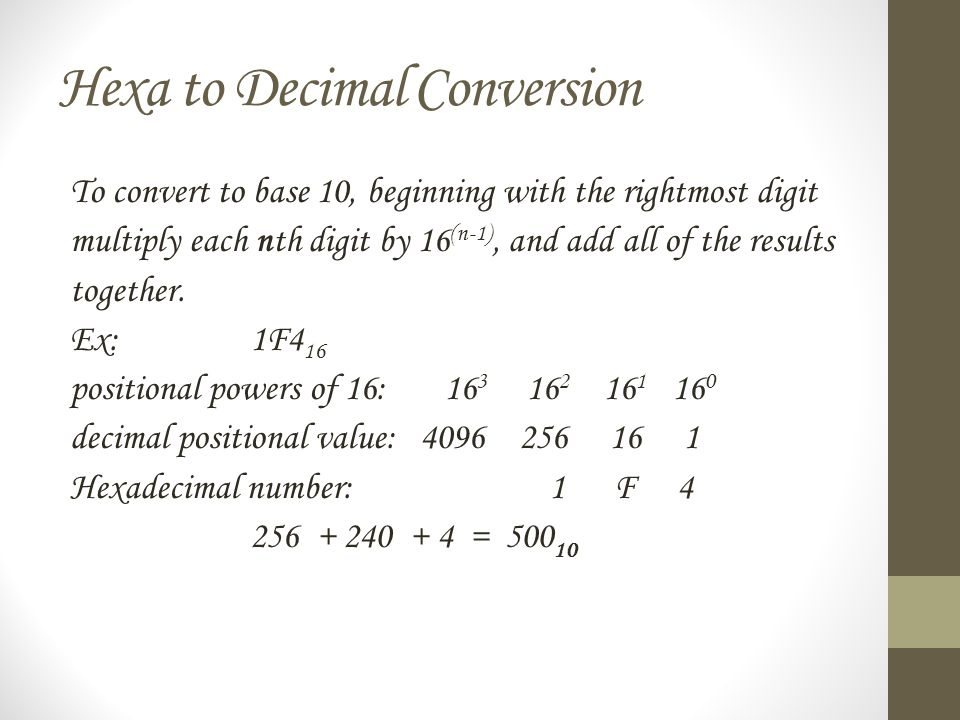 Hexa to Decimal Conversion