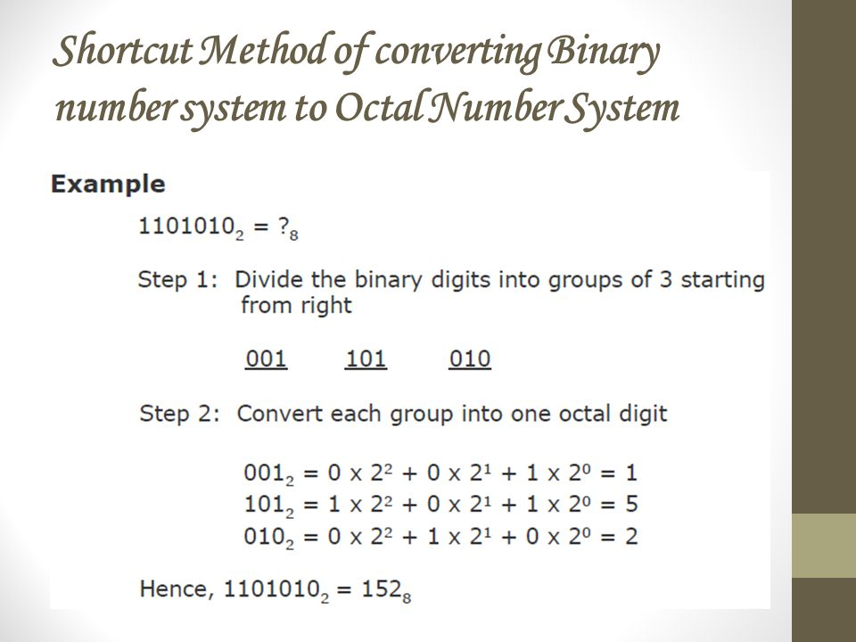 Shortcut Method of converting Binary number system to Octal Number System