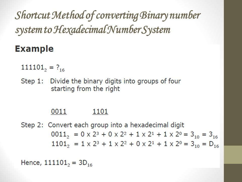Shortcut Method of converting Binary number system to Hexadecimal Number System
