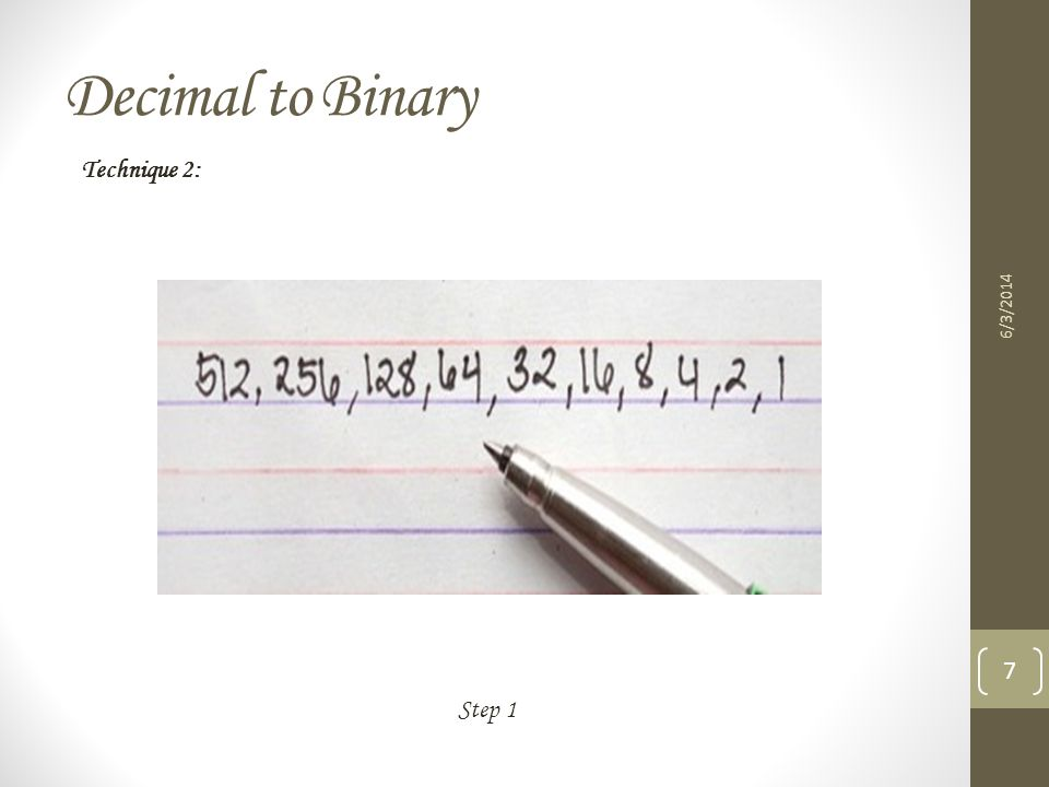 Decimal to Binary Technique 2: 3/31/2017 Step 1