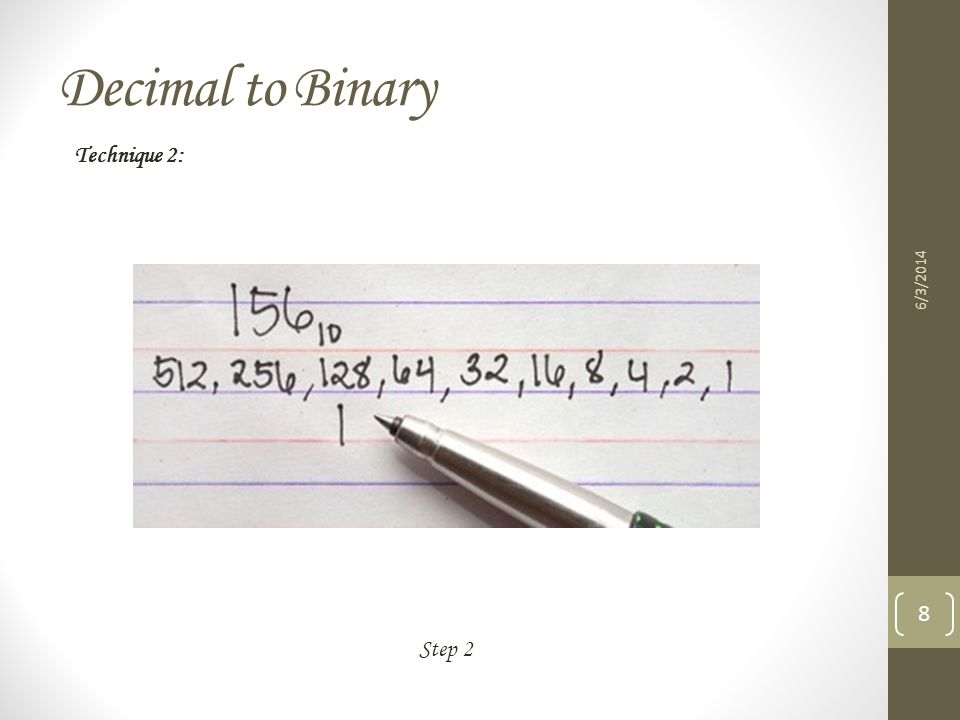 Decimal to Binary Technique 2: 3/31/2017 Step 2