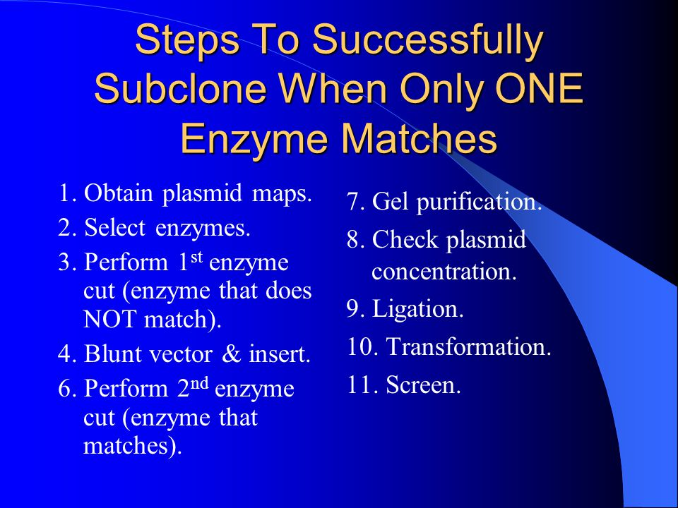 Steps To Successfully Subclone When Only ONE Enzyme Matches