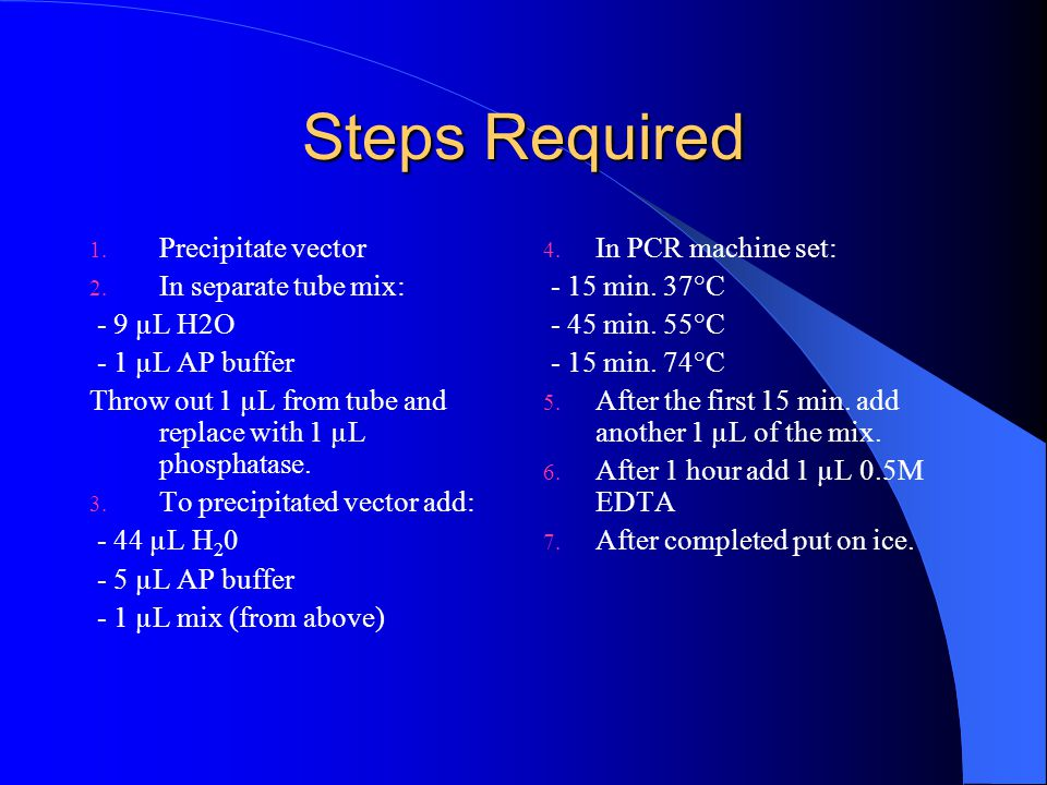 Steps Required Precipitate vector In separate tube mix: - 9 µL H2O