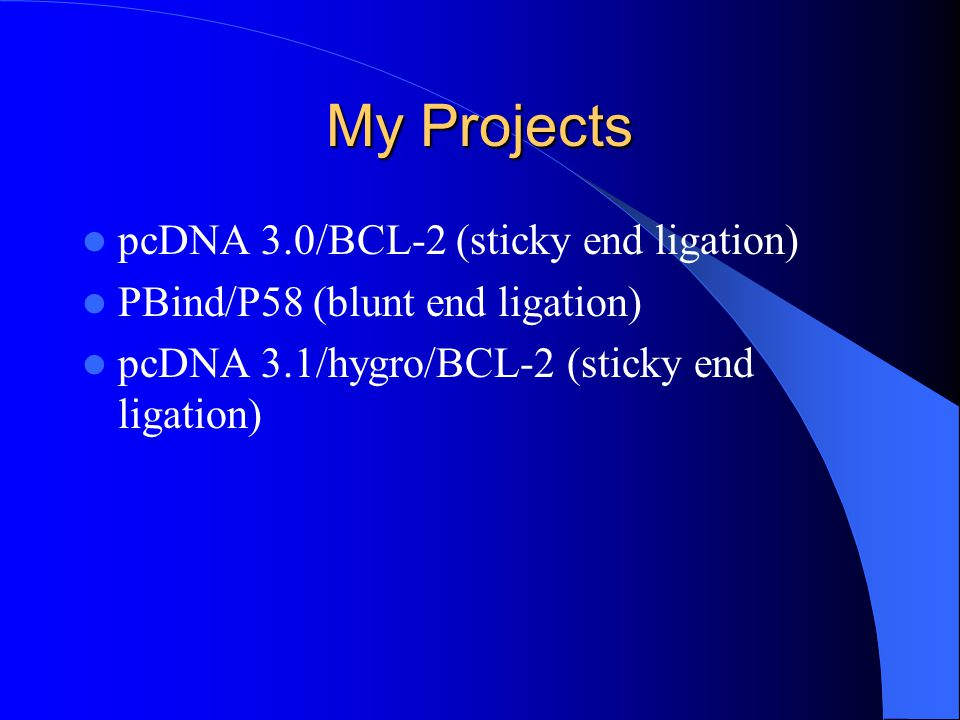 My Projects pcDNA 3.0/BCL-2 (sticky end ligation)