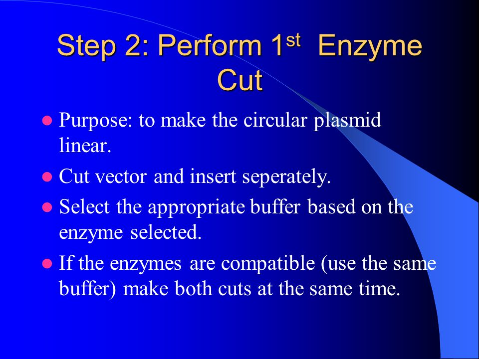 Step 2: Perform 1st Enzyme Cut