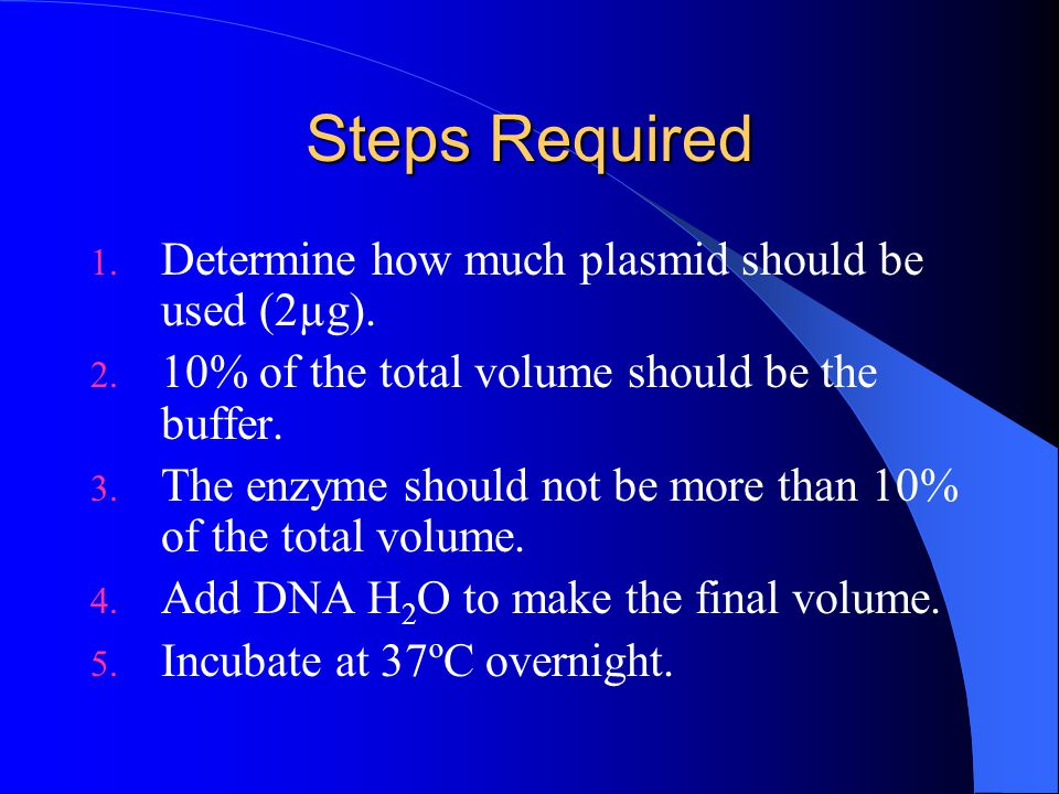 Steps Required Determine how much plasmid should be used (2µg).