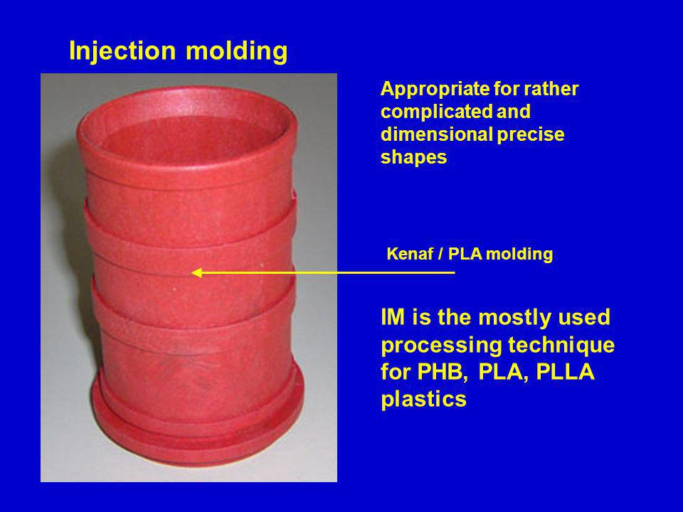 Injection molding Appropriate for rather complicated and dimensional precise shapes. Kenaf / PLA molding.