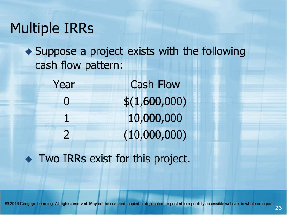 Multiple IRRs Suppose a project exists with the following cash flow pattern: Year Cash Flow. 0 $(1,600,000)