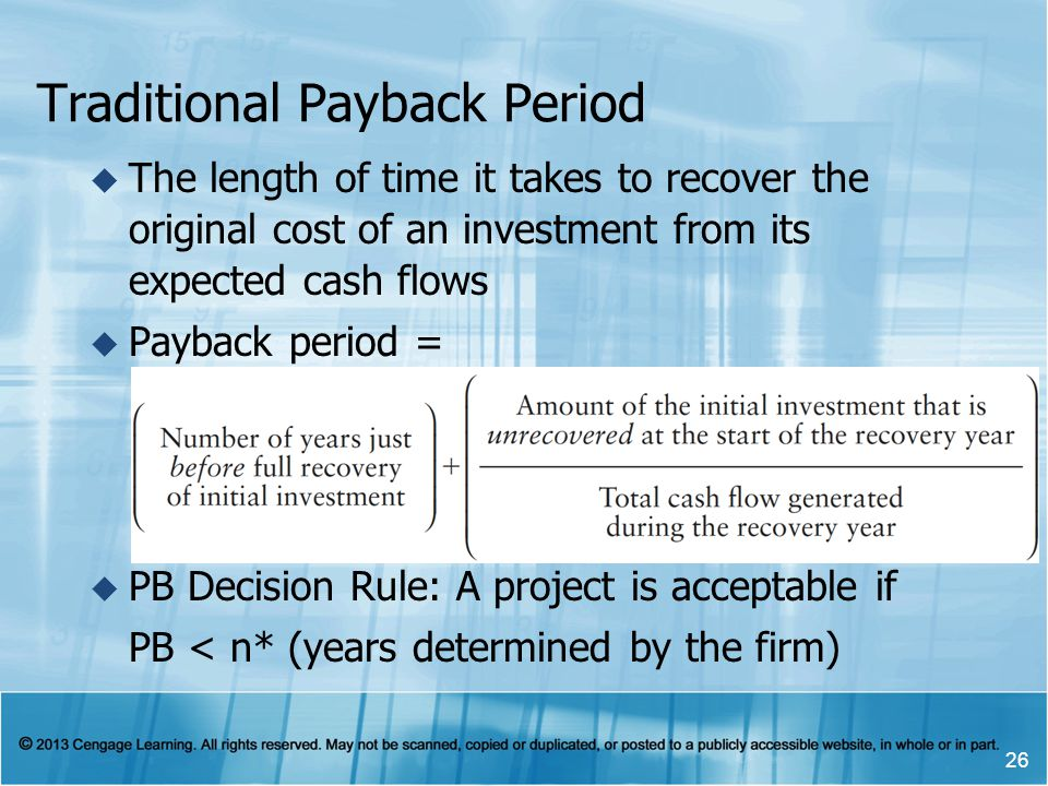 Traditional Payback Period