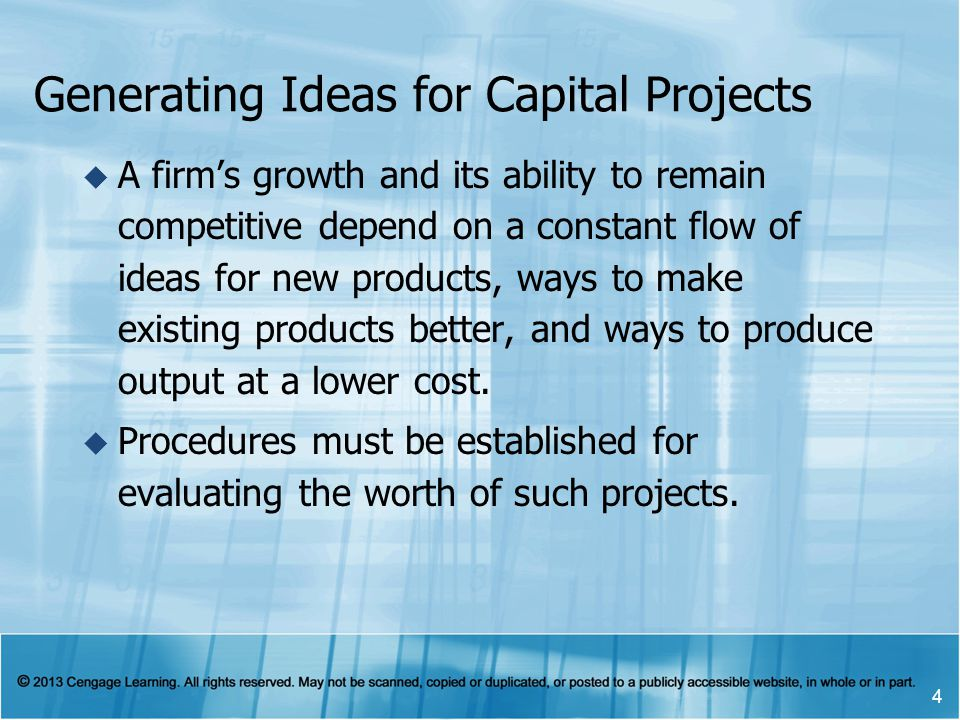 Generating Ideas for Capital Projects