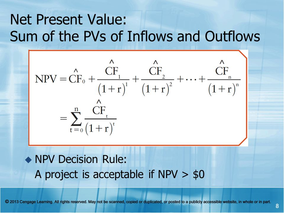 Net Present Value: Sum of the PVs of Inflows and Outflows