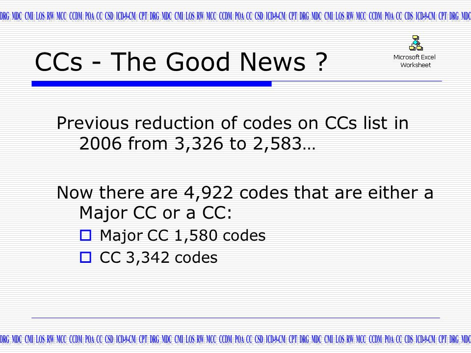 CCs - The Good News Previous reduction of codes on CCs list in 2006 from 3,326 to 2,583…