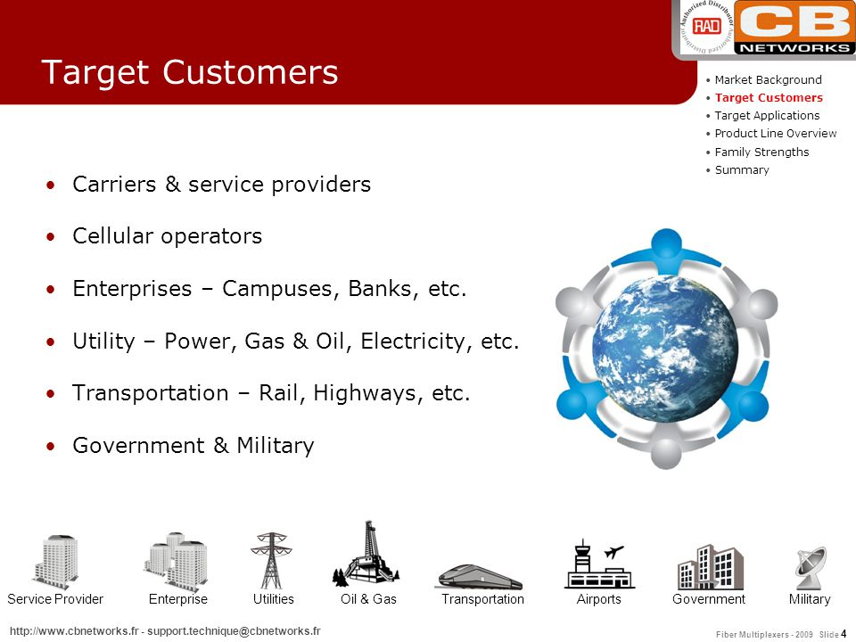 Target Customers Carriers & service providers Cellular operators