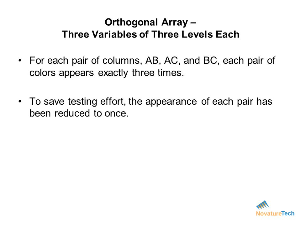 Orthogonal Array – Three Variables of Three Levels Each