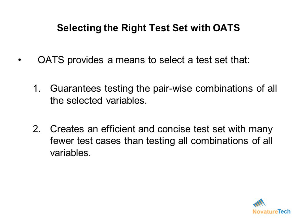 Selecting the Right Test Set with OATS