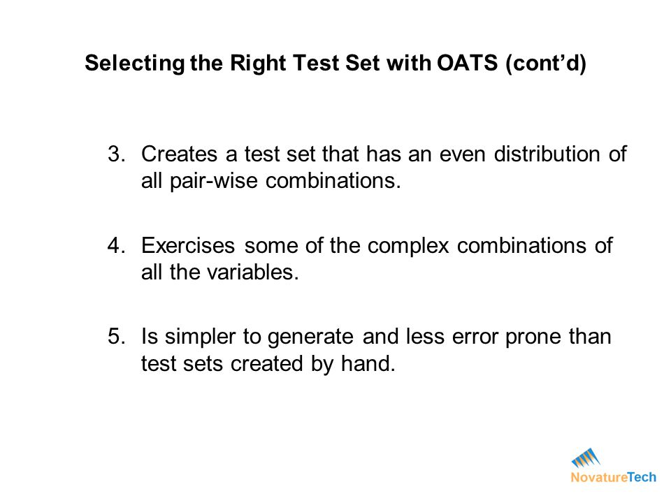 Selecting the Right Test Set with OATS (cont'd)