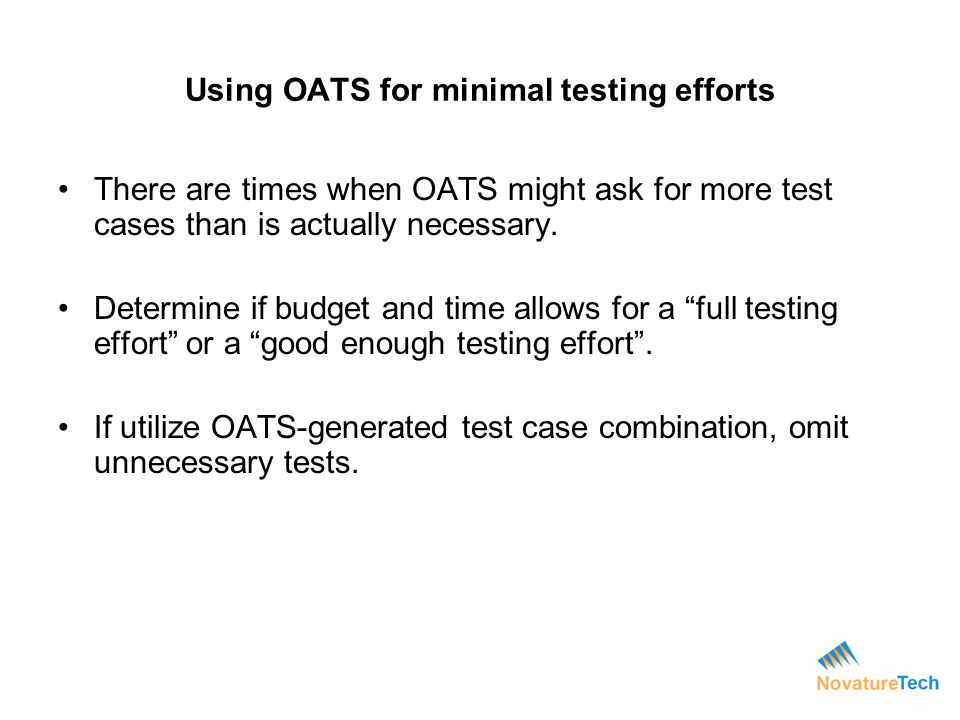 Using OATS for minimal testing efforts