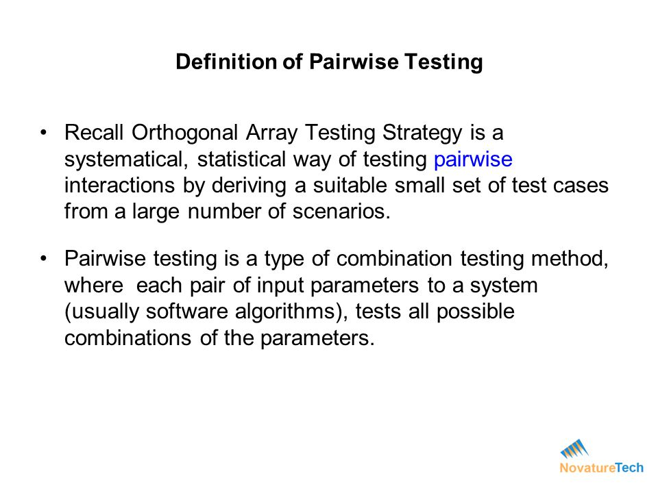 Definition of Pairwise Testing