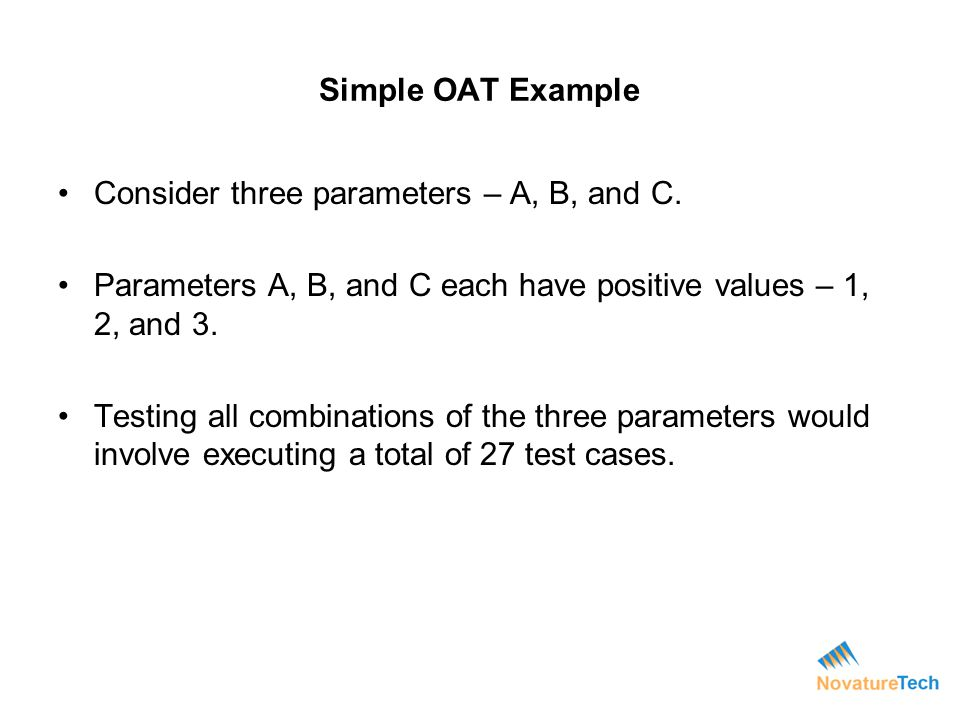 Consider three parameters – A, B, and C.