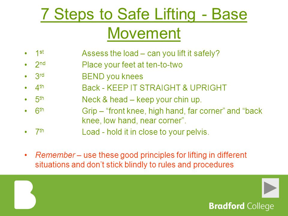 7 Steps to Safe Lifting - Base Movement