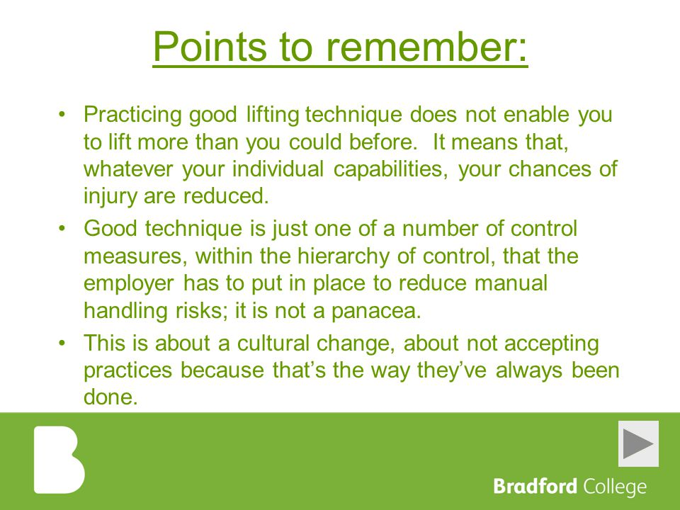 Points to remember: