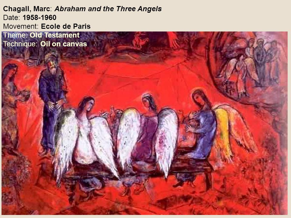 Chagall, Marc: Abraham and the Three Angels Date: 1958-1960 Movement: Ecole de Paris Theme: Old Testament Technique: Oil on canvas