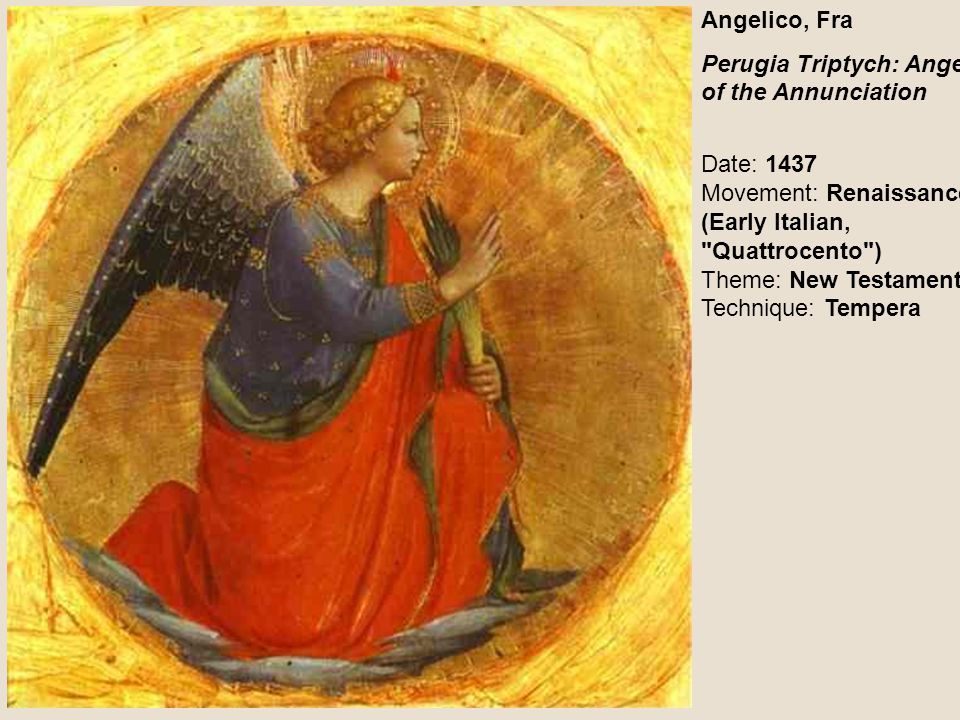 Angelico, Fra Perugia Triptych: Angel of the Annunciation.