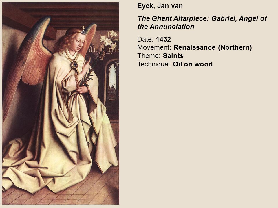 Eyck, Jan van The Ghent Altarpiece: Gabriel, Angel of the Annunciation.