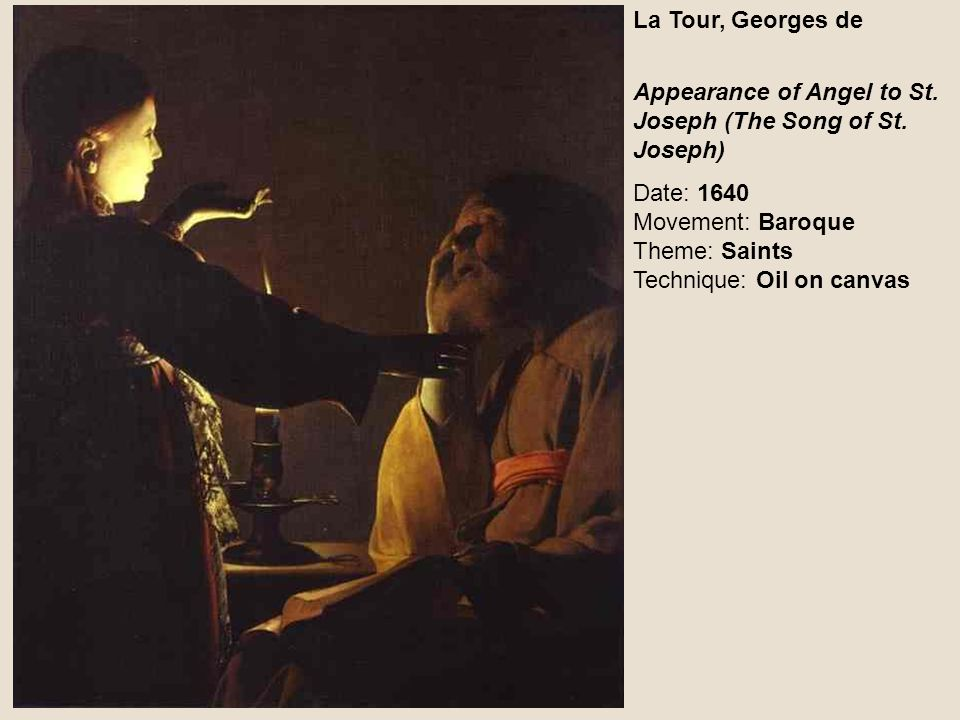 La Tour, Georges de Appearance of Angel to St. Joseph (The Song of St.