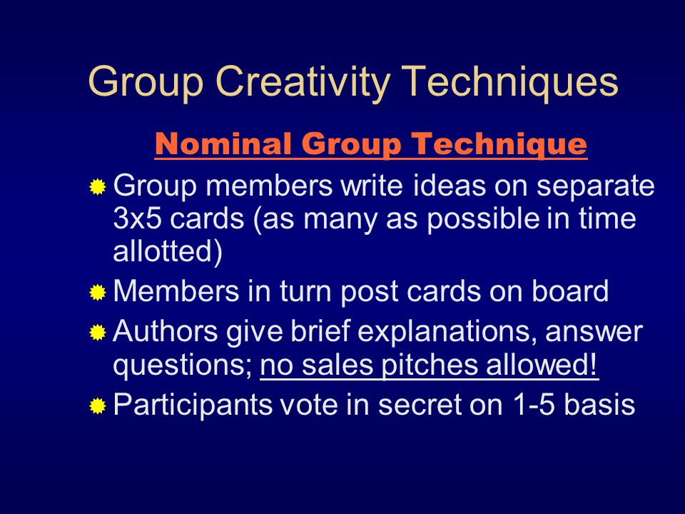 Group Creativity Techniques