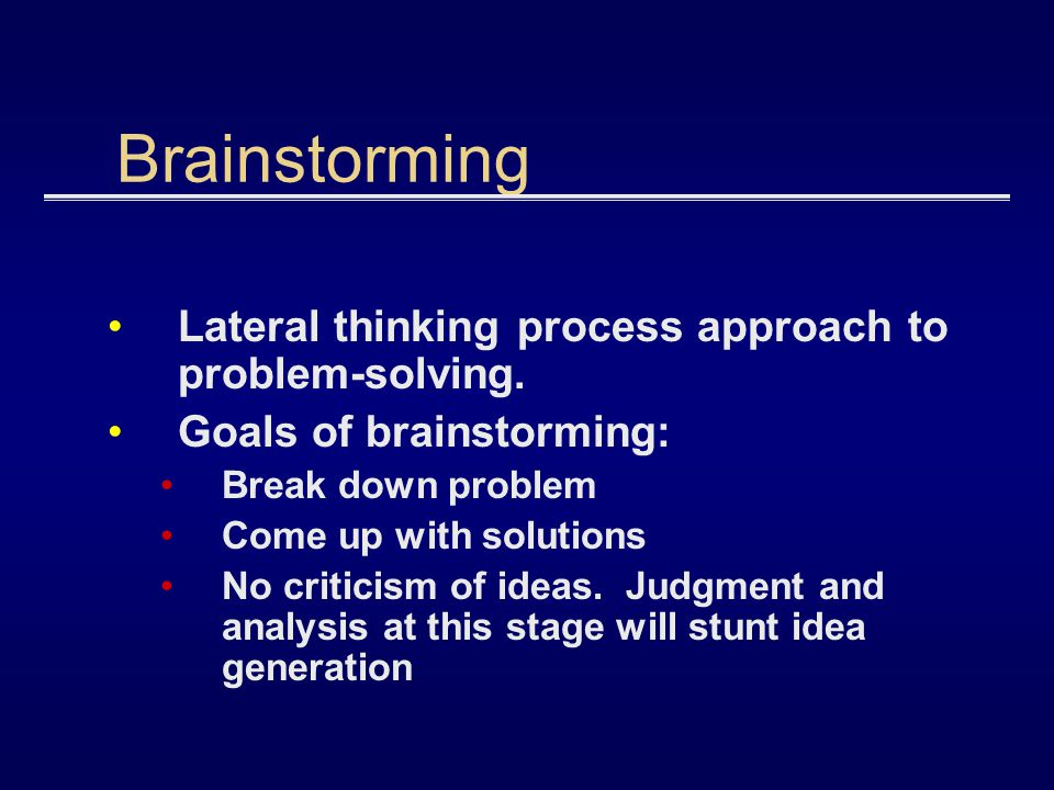 Brainstorming Lateral thinking process approach to problem-solving.