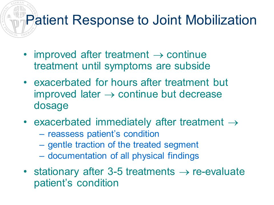 Patient Response to Joint Mobilization
