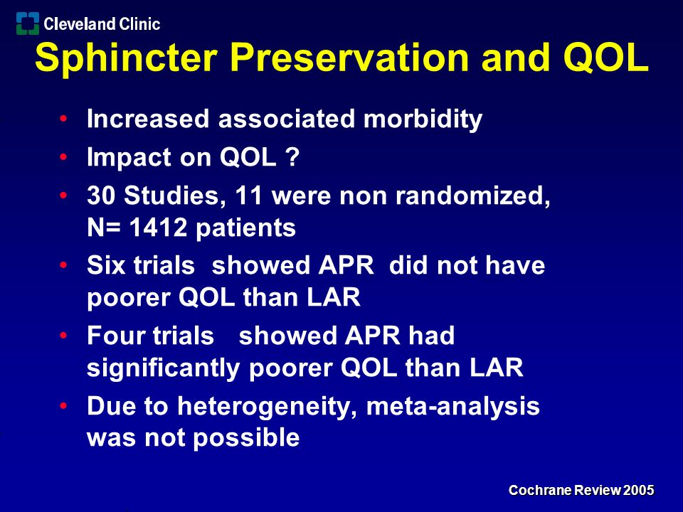 Sphincter Preservation and QOL