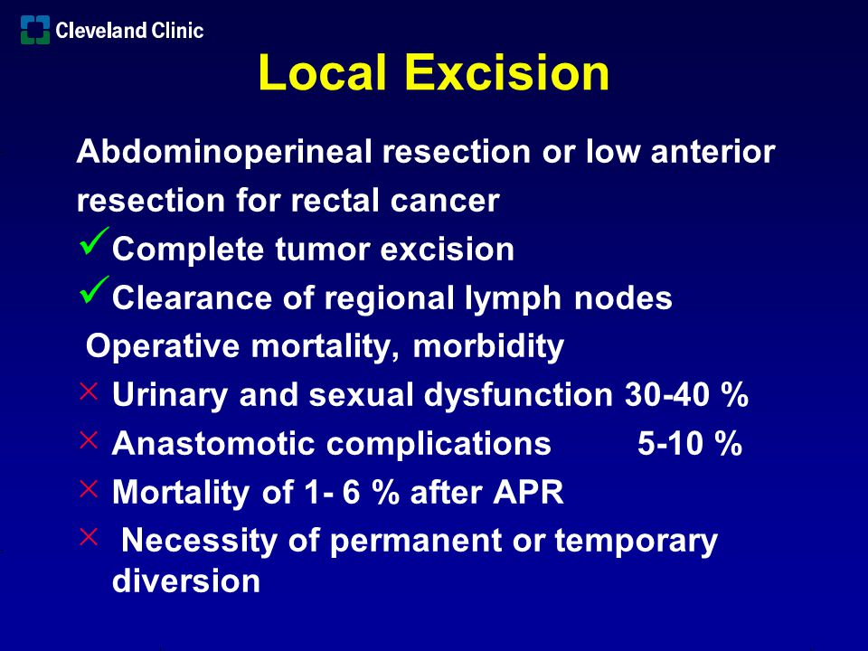 Local Excision Abdominoperineal resection or low anterior