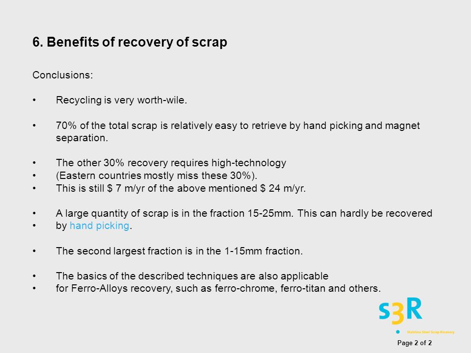 6. Benefits of recovery of scrap