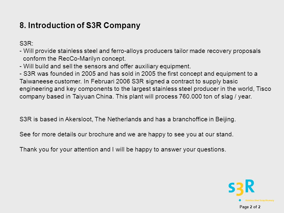 8. Introduction of S3R Company