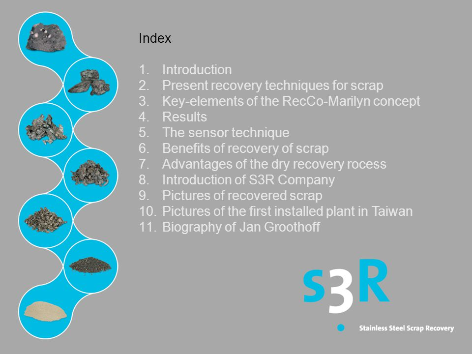 Index Introduction. Present recovery techniques for scrap. Key-elements of the RecCo-Marilyn concept.