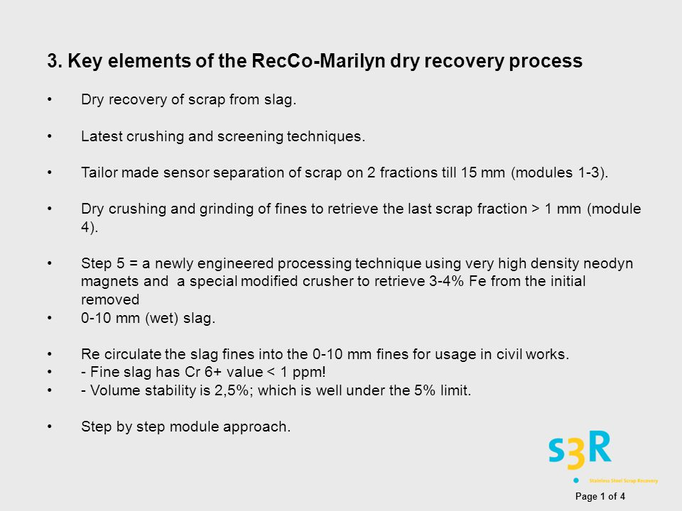 3. Key elements of the RecCo-Marilyn dry recovery process